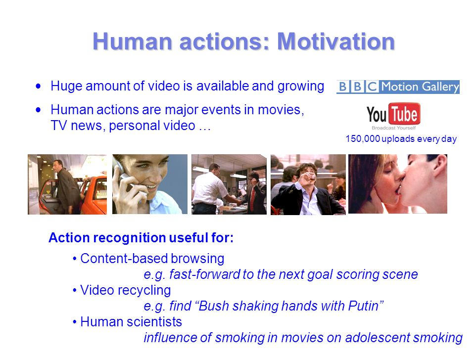 Human actions: Motivation Action recognition useful for: Content-based browsing e.g.