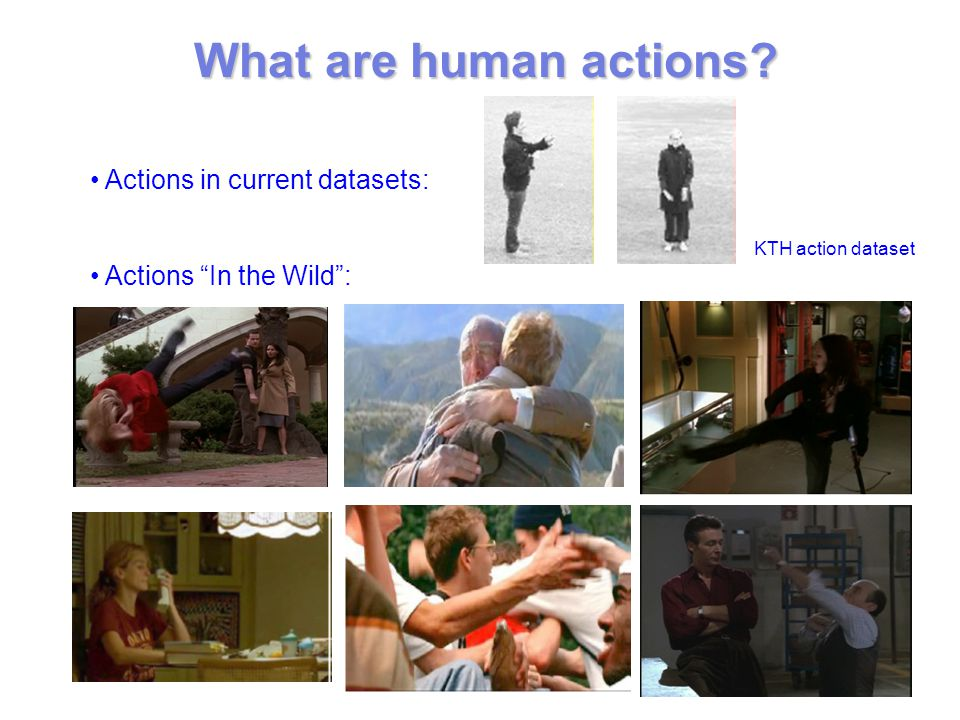 What are human actions Actions in current datasets: Actions In the Wild : KTH action dataset