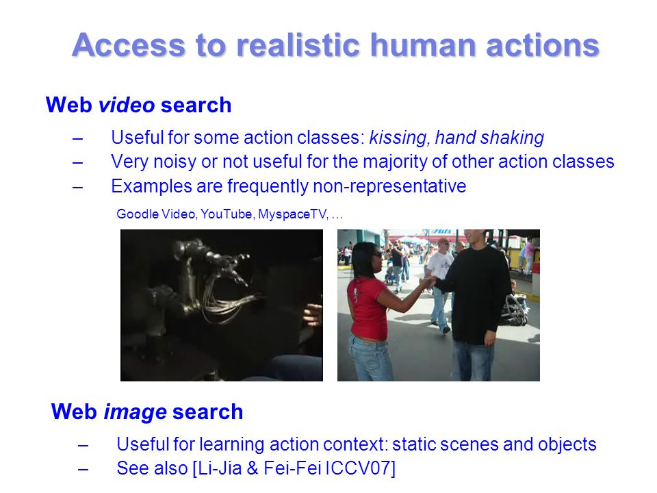 Web video search –Useful for some action classes: kissing, hand shaking –Very noisy or not useful for the majority of other action classes –Examples are frequently non-representative Web image search –Useful for learning action context: static scenes and objects –See also [Li-Jia & Fei-Fei ICCV07] Goodle Video, YouTube, MyspaceTV, … Access to realistic human actions
