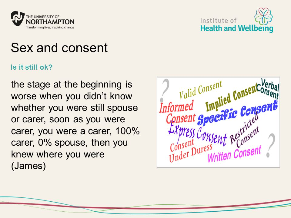 the stage at the beginning is worse when you didn't know whether you were still spouse or carer, soon as you were carer, you were a carer, 100% carer,