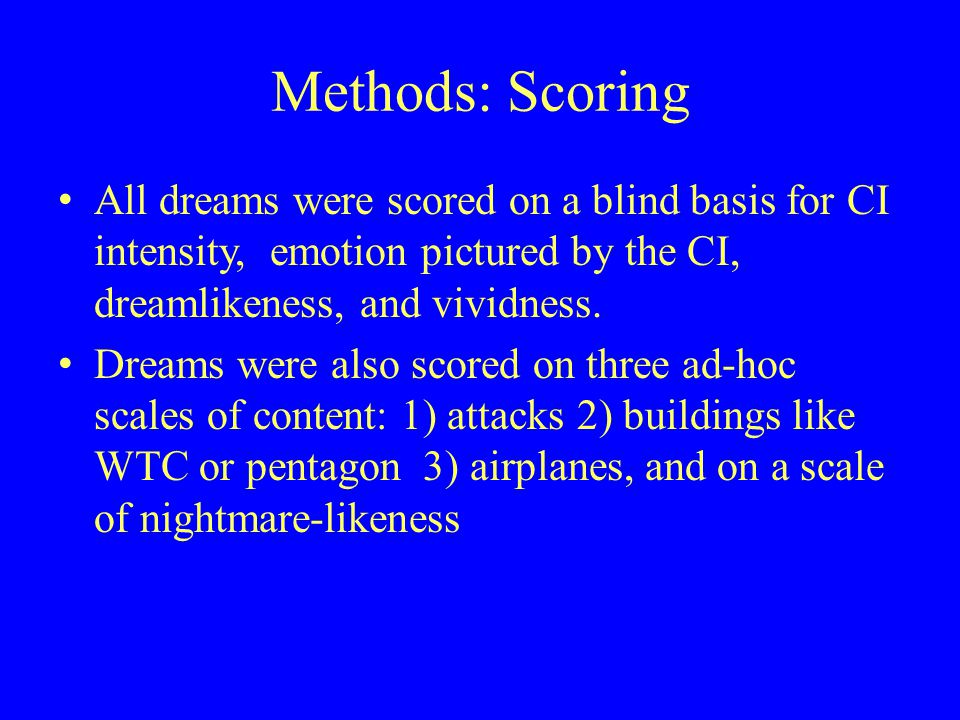 Methods: Scoring All dreams were scored on a blind basis for CI intensity, emotion pictured by the CI, dreamlikeness, and vividness.