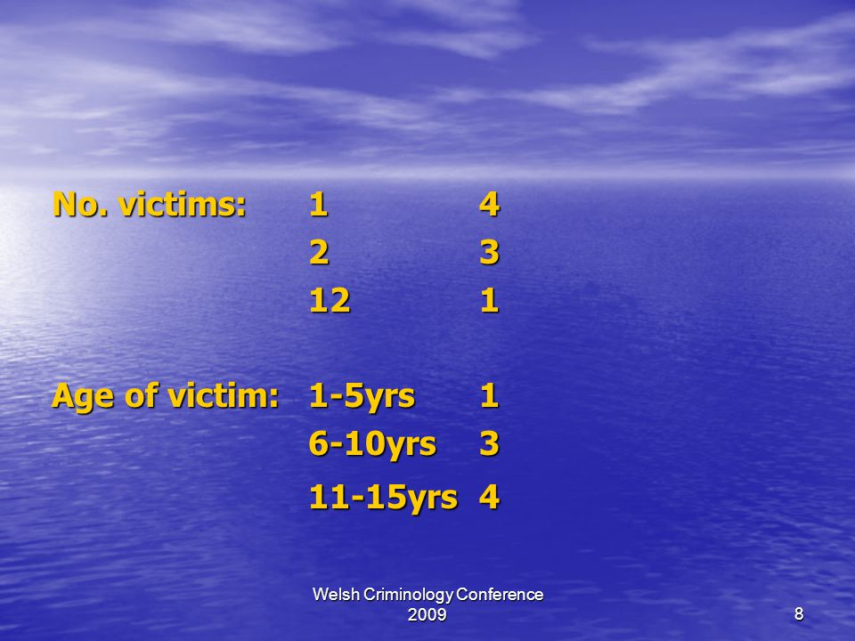 Welsh Criminology Conference 20098 No. victims:14 23 121 Age of victim:1-5yrs1 6-10yrs3 11-15yrs4