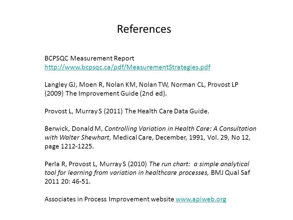 References BCPSQC Measurement Report http://www.bcpsqc.ca/pdf/MeasurementStrategies.pdf Langley GJ, Moen R, Nolan KM, Nolan TW, Norman CL, Provost LP