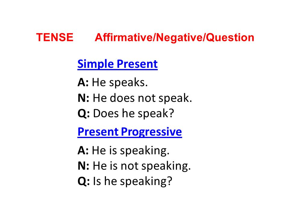 TENSE Affirmative/Negative/Question Simple Present A: He speaks. N: He does not speak. Q: Does he speak? Present Progressive A: He is speaking. N: He