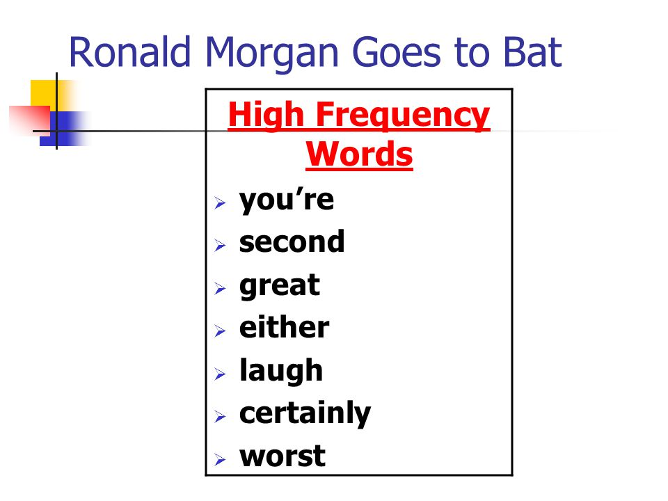 Ronald Morgan Goes to Bat High Frequency Words  you're  second  great  either  laugh  certainly  worst