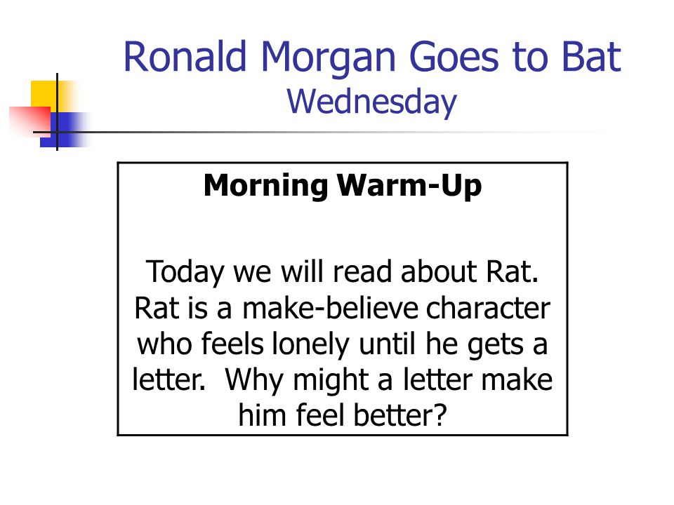 Ronald Morgan Goes to Bat Wednesday Morning Warm-Up Today we will read about Rat.