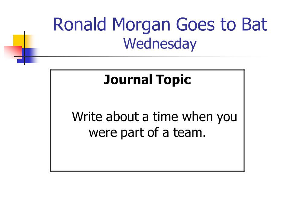 Ronald Morgan Goes to Bat Wednesday Journal Topic Write about a time when you were part of a team.
