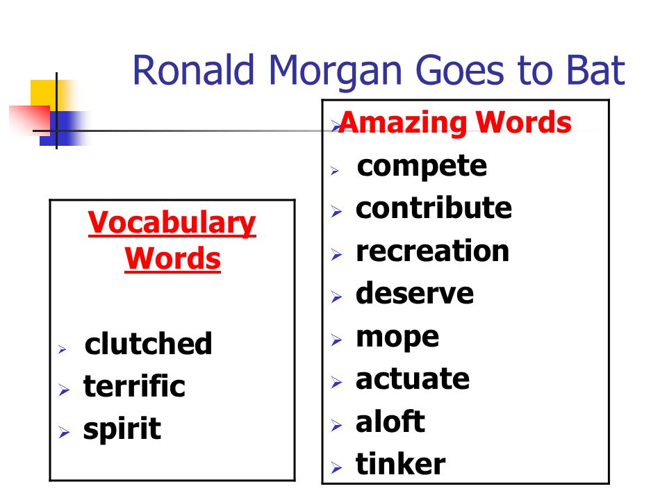 Ronald Morgan Goes to Bat Vocabulary Words  clutched  terrific  spirit  Amazing Words  compete  contribute  recreation  deserve  mope  actuate  aloft  tinker