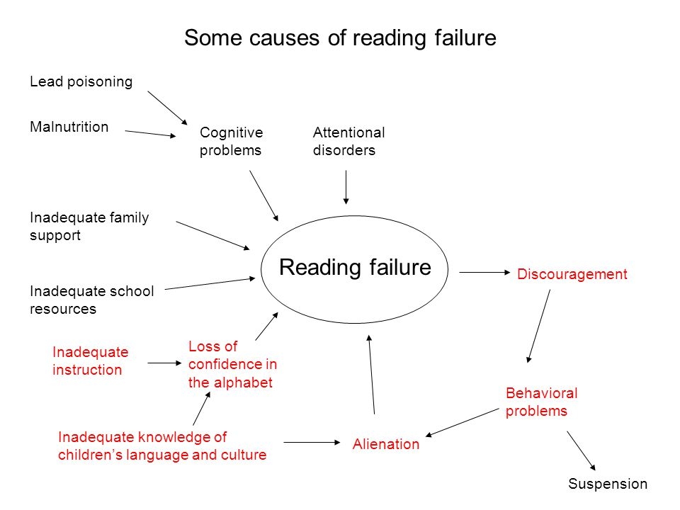 Some causes of reading failure Reading failure Discouragement Alienation Inadequate school resources Inadequate instruction Inadequate family support