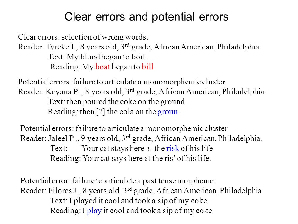 Clear errors and potential errors Clear errors: selection of wrong words: Reader: Tyreke J., 8 years old, 3 rd grade, African American, Philadelphia.