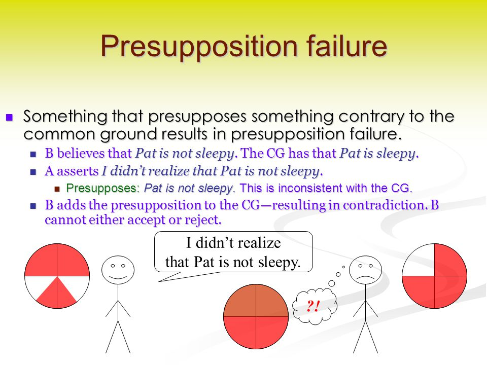 Presupposition failure Something that presupposes something contrary to the common ground results in presupposition failure. Something that presuppose