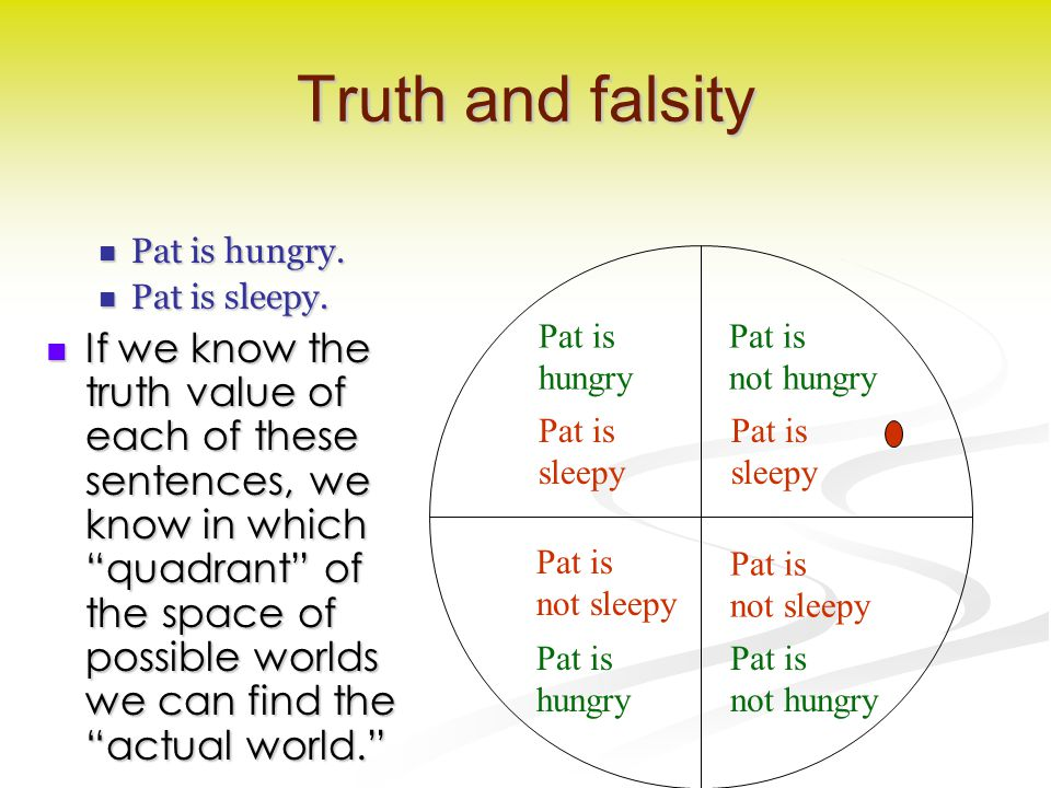 Truth and falsity Pat is hungry. Pat is hungry. Pat is sleepy. Pat is sleepy. If we know the truth value of each of these sentences, we know in which