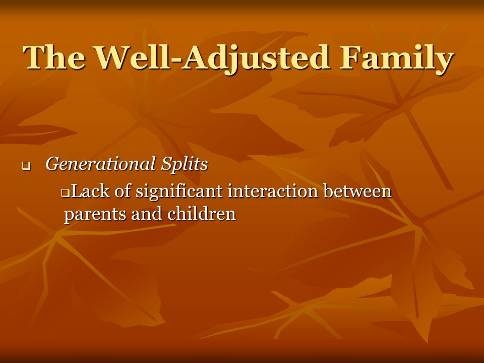 The Well-Adjusted Family  Generational Splits  Lack of significant interaction between parents and children