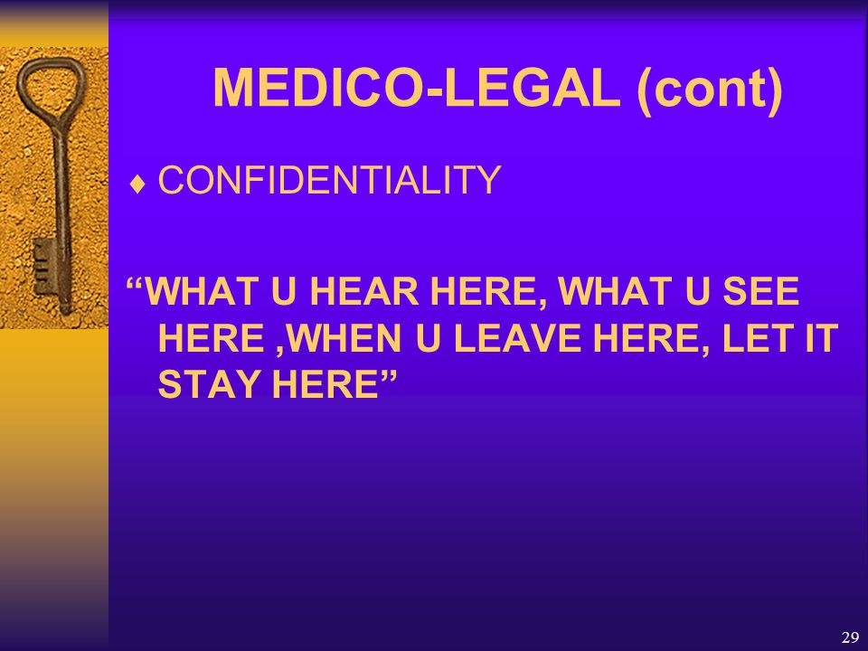 "29 MEDICO-LEGAL (cont)  CONFIDENTIALITY ""WHAT U HEAR HERE, WHAT U SEE HERE,WHEN U LEAVE HERE, LET IT STAY HERE"""