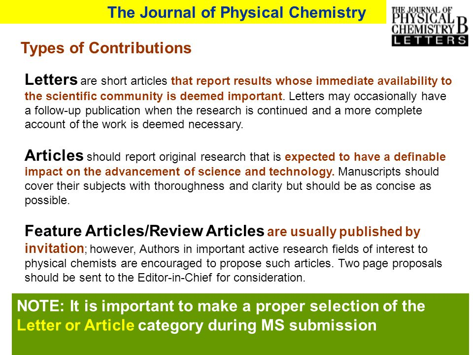 Letters are short articles that report results whose immediate availability to the scientific community is deemed important. Letters may occasionally