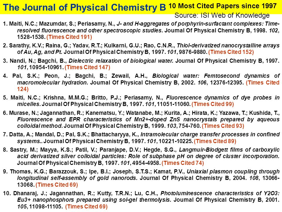 The Journal of Physical Chemistry B 10 Most Cited Papers since 1997 1. Maiti, N.C.; Mazumdar, S.; Periasamy, N., J- and H-aggregates of porphyrin-surf