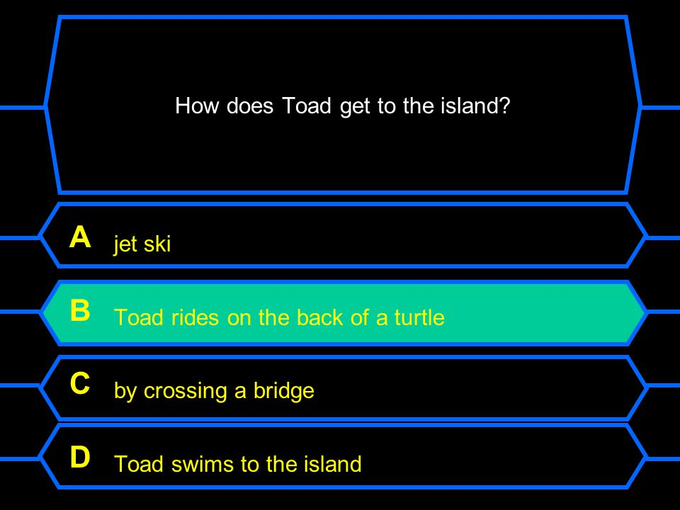 How does Toad get to the island.