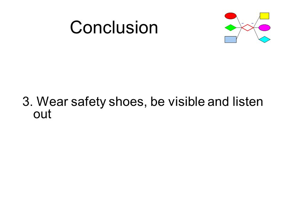 Conclusion 3. Wear safety shoes, be visible and listen out