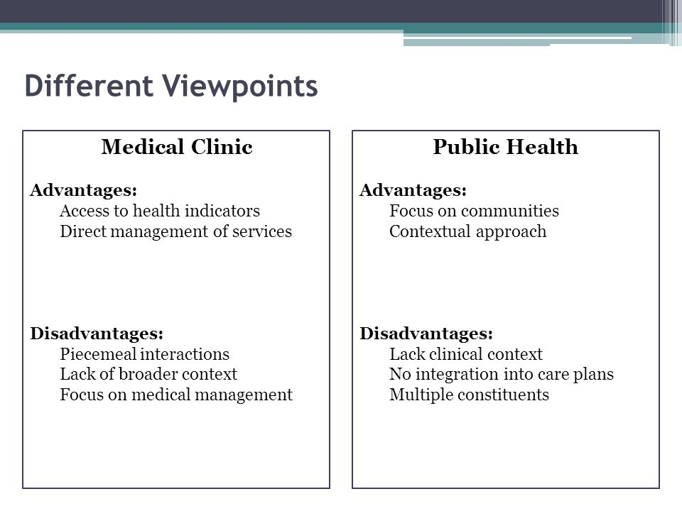 Different Viewpoints Medical Clinic Advantages: Access to health indicators Direct management of services Disadvantages: Piecemeal interactions Lack o