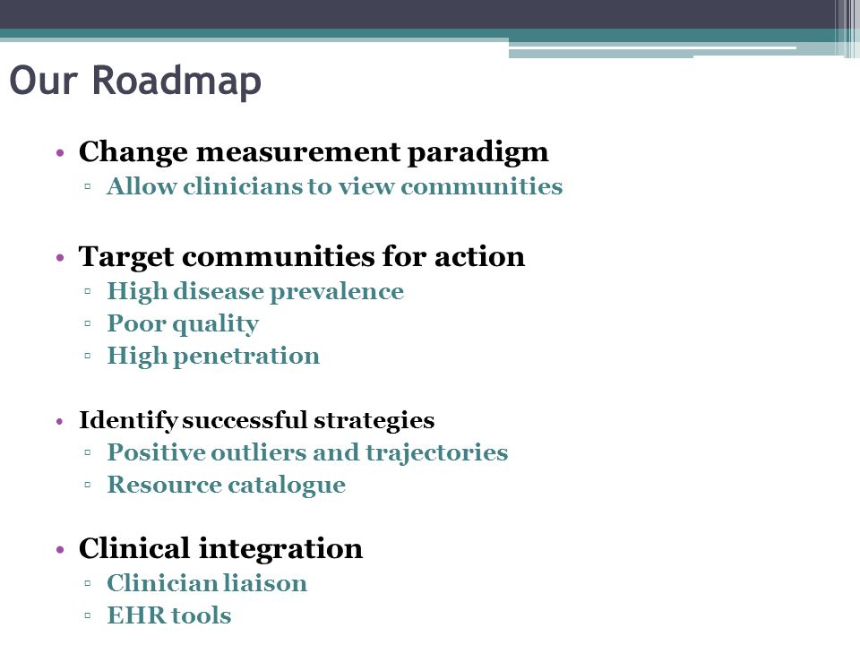 Our Roadmap Change measurement paradigm ▫Allow clinicians to view communities Target communities for action ▫High disease prevalence ▫Poor quality ▫Hi