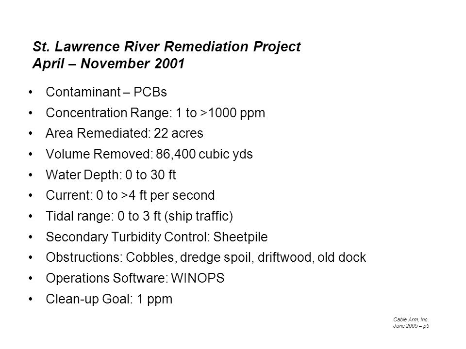St. Lawrence River Remediation Project April – November 2001 Contaminant – PCBs Concentration Range: 1 to >1000 ppm Area Remediated: 22 acres Volume R