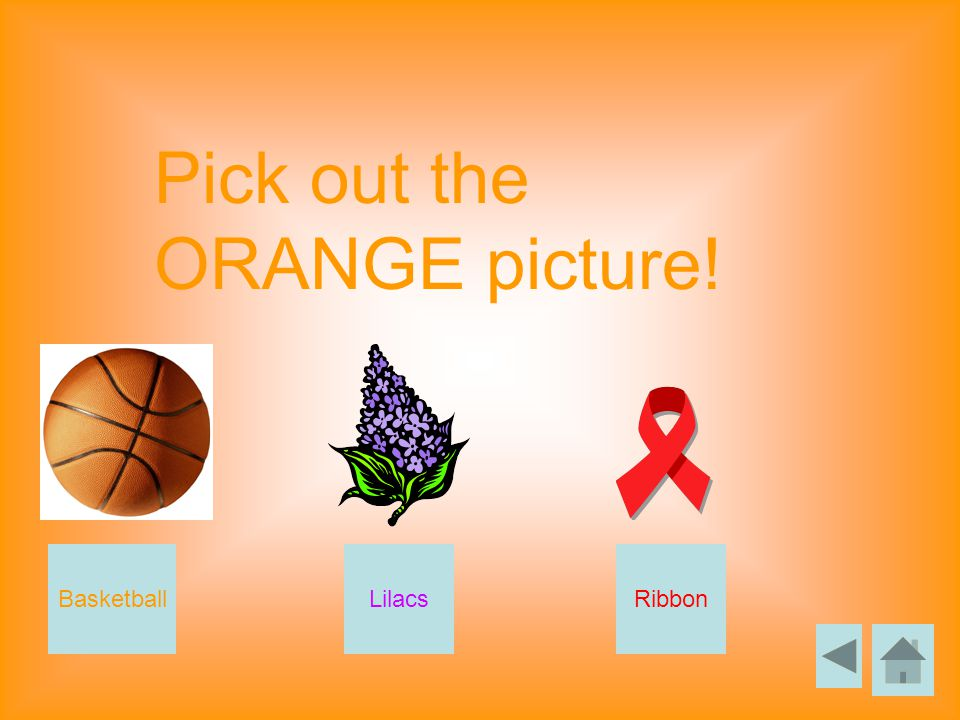 Pick out the ORANGE picture! BasketballLilacsRibbon