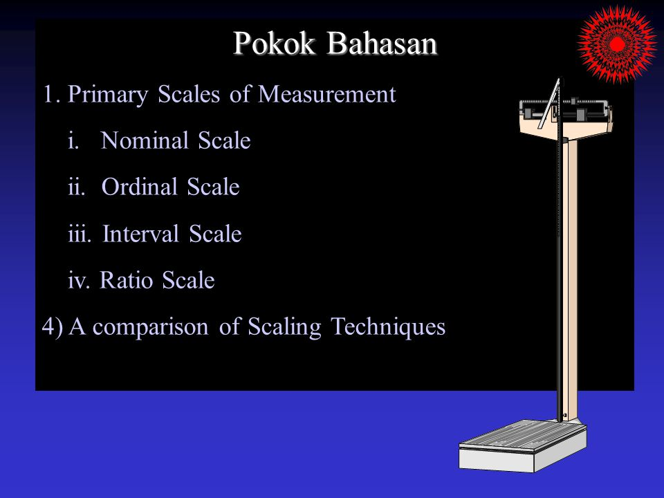 Pokok Bahasan 1.Primary Scales of Measurement i. Nominal Scale ii.