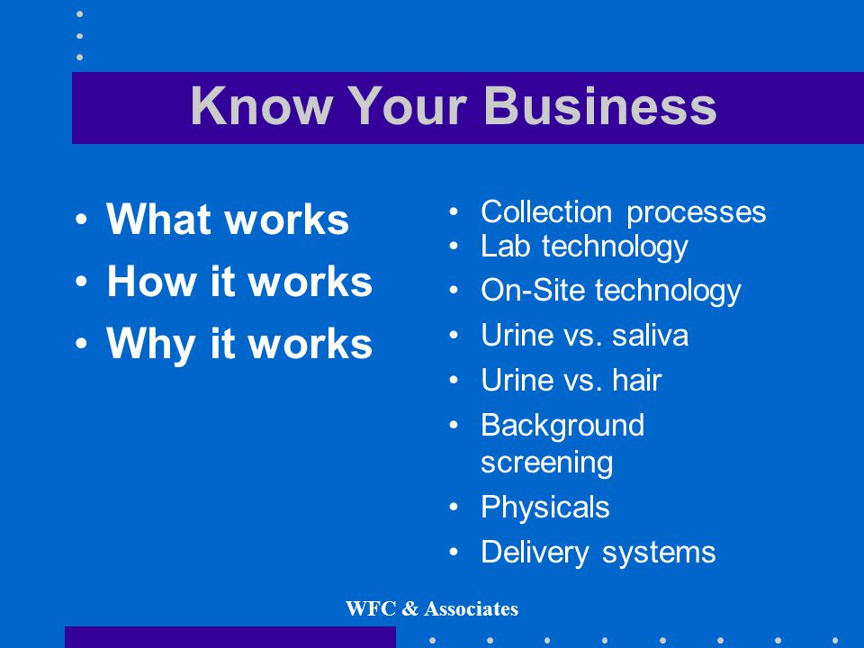 WFC & Associates Know Your Business What works How it works Why it works Collection processes Lab technology On-Site technology Urine vs.