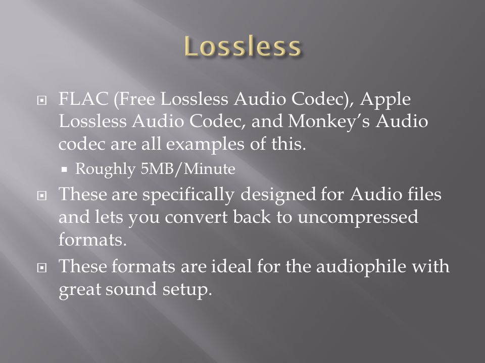  FLAC (Free Lossless Audio Codec), Apple Lossless Audio Codec, and Monkey's Audio codec are all examples of this.  Roughly 5MB/Minute  These are sp