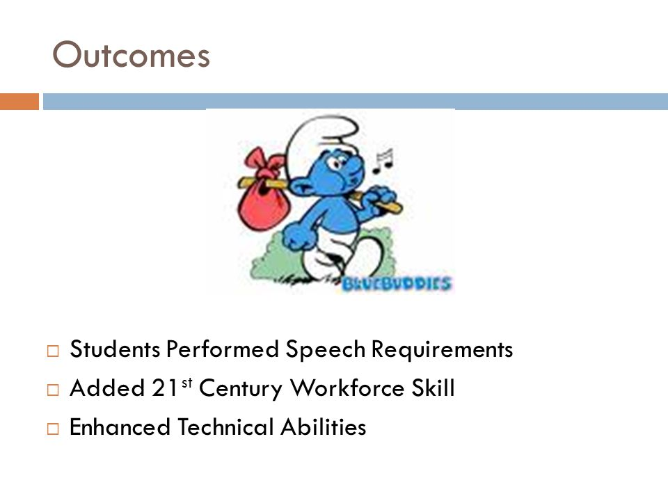 Outcomes  Students Performed Speech Requirements  Added 21 st Century Workforce Skill  Enhanced Technical Abilities