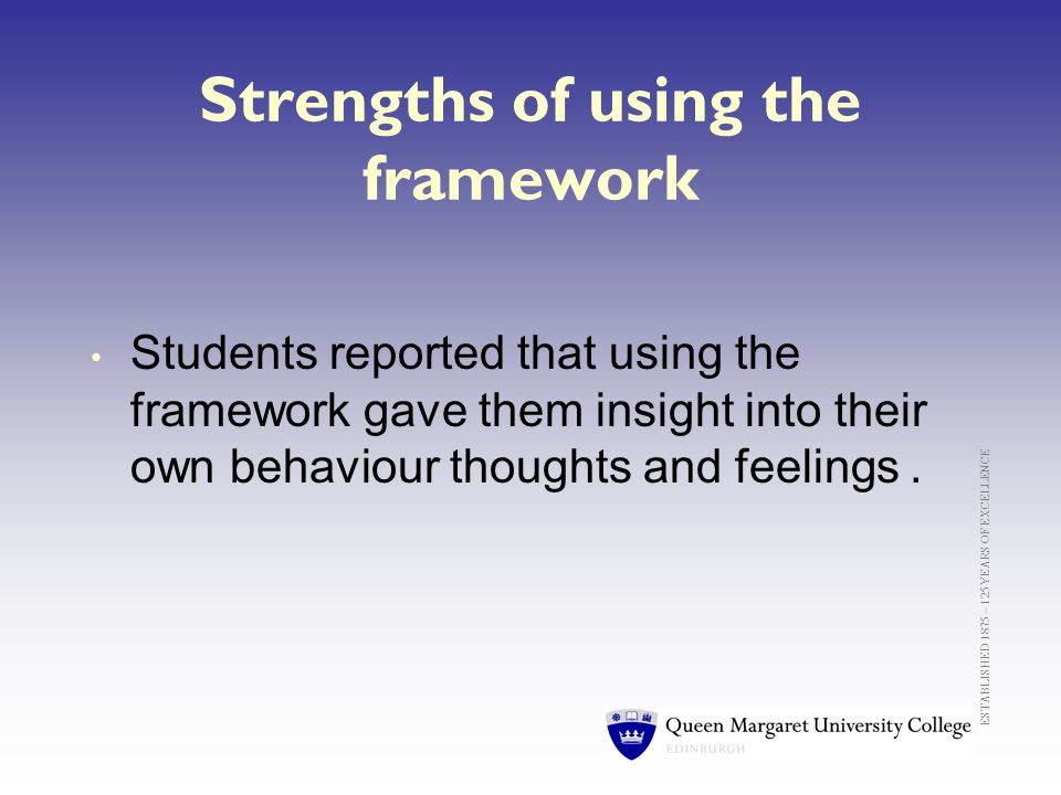 ESTABLISHED 1875 – 125 YEARS OF EXCELLENCE Strengths of using the framework Students reported that using the framework gave them insight into their own behaviour thoughts and feelings.