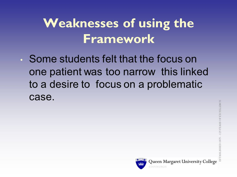 ESTABLISHED 1875 – 125 YEARS OF EXCELLENCE Weaknesses of using the Framework Some students felt that the focus on one patient was too narrow this linked to a desire to focus on a problematic case.