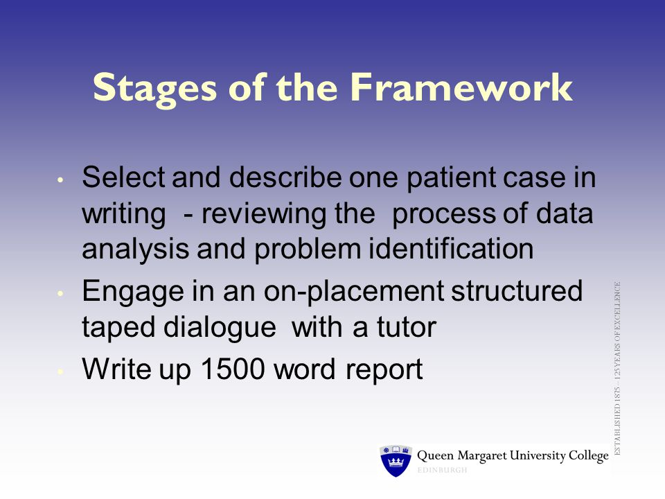 ESTABLISHED 1875 – 125 YEARS OF EXCELLENCE Stages of the Framework Select and describe one patient case in writing - reviewing the process of data analysis and problem identification Engage in an on-placement structured taped dialogue with a tutor Write up 1500 word report