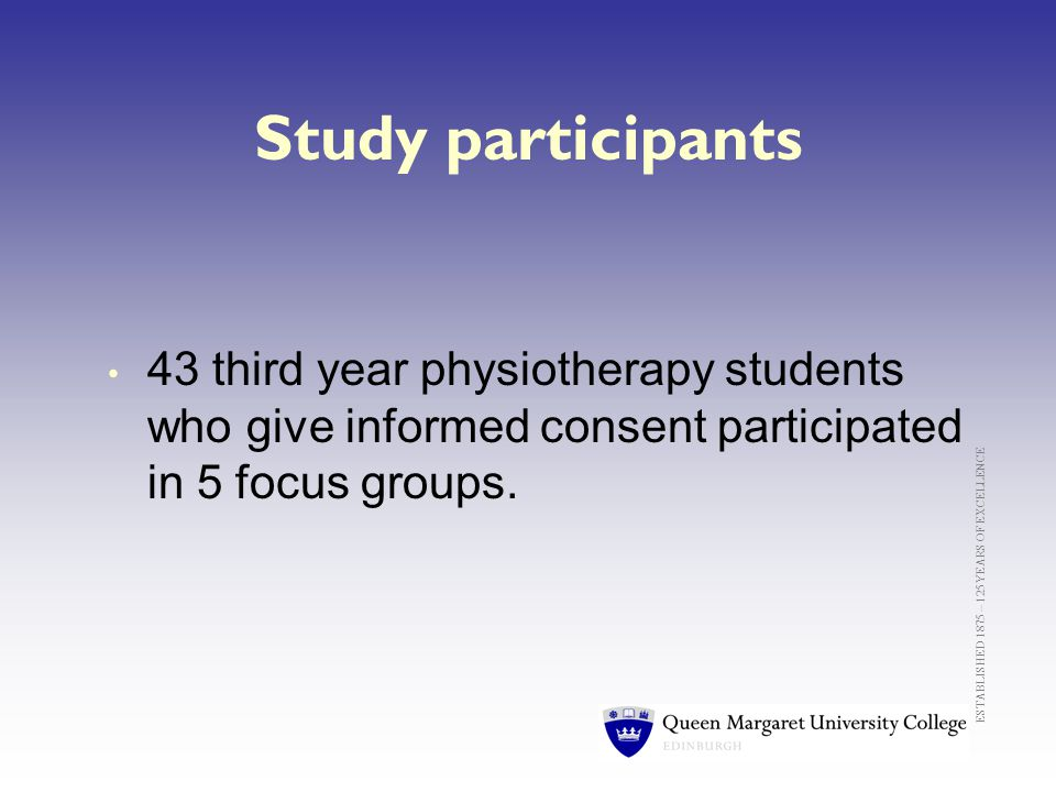 ESTABLISHED 1875 – 125 YEARS OF EXCELLENCE Study participants 43 third year physiotherapy students who give informed consent participated in 5 focus groups.