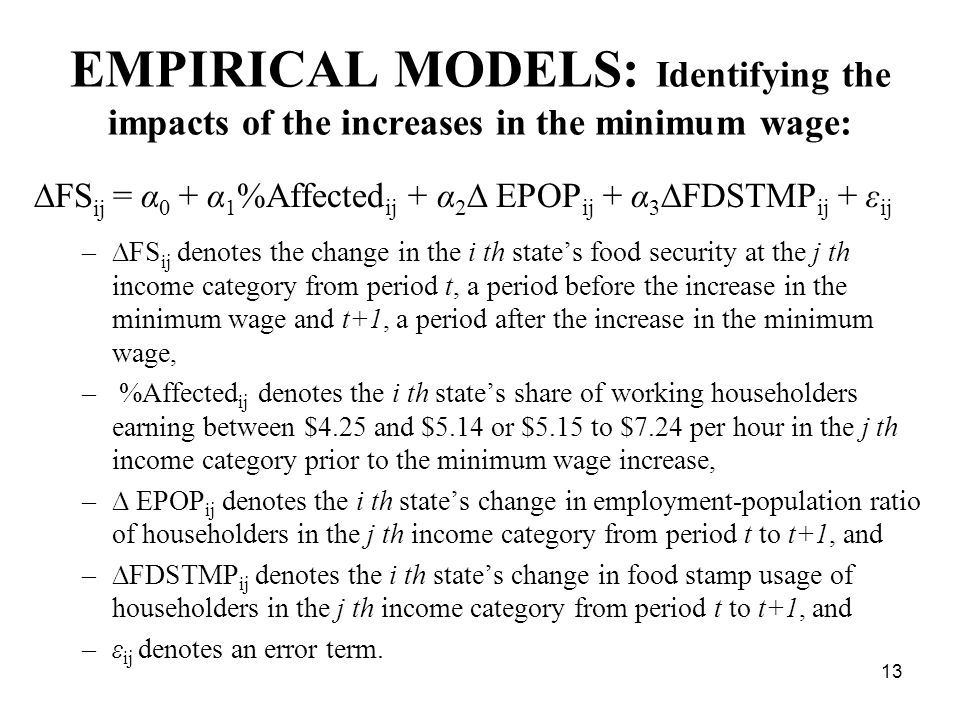 EMPIRICAL MODELS: Identifying the impacts of the increases in the minimum wage:  FS ij = α 0 + α 1 %Affected ij + α 2  EPOP ij + α 3  FDSTMP ij + ε ij –  FS ij denotes the change in the i th state's food security at the j th income category from period t, a period before the increase in the minimum wage and t+1, a period after the increase in the minimum wage, – %Affected ij denotes the i th state's share of working householders earning between $4.25 and $5.14 or $5.15 to $7.24 per hour in the j th income category prior to the minimum wage increase, –  EPOP ij denotes the i th state's change in employment-population ratio of householders in the j th income category from period t to t+1, and –  FDSTMP ij denotes the i th state's change in food stamp usage of householders in the j th income category from period t to t+1, and –ε ij denotes an error term.