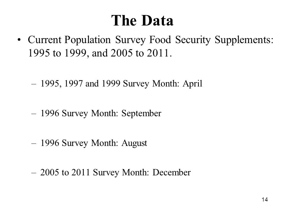 The Data Current Population Survey Food Security Supplements: 1995 to 1999, and 2005 to 2011.