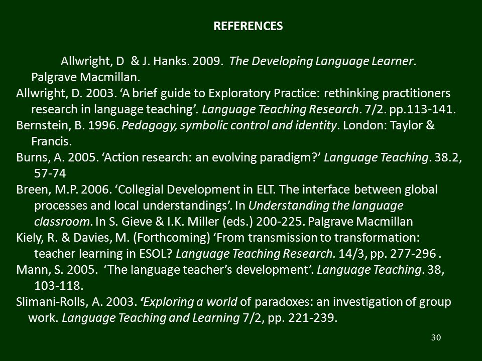 30 Allwright, D & J. Hanks. 2009. The Developing Language Learner. Palgrave Macmillan. Allwright, D. 2003. 'A brief guide to Exploratory Practice: ret