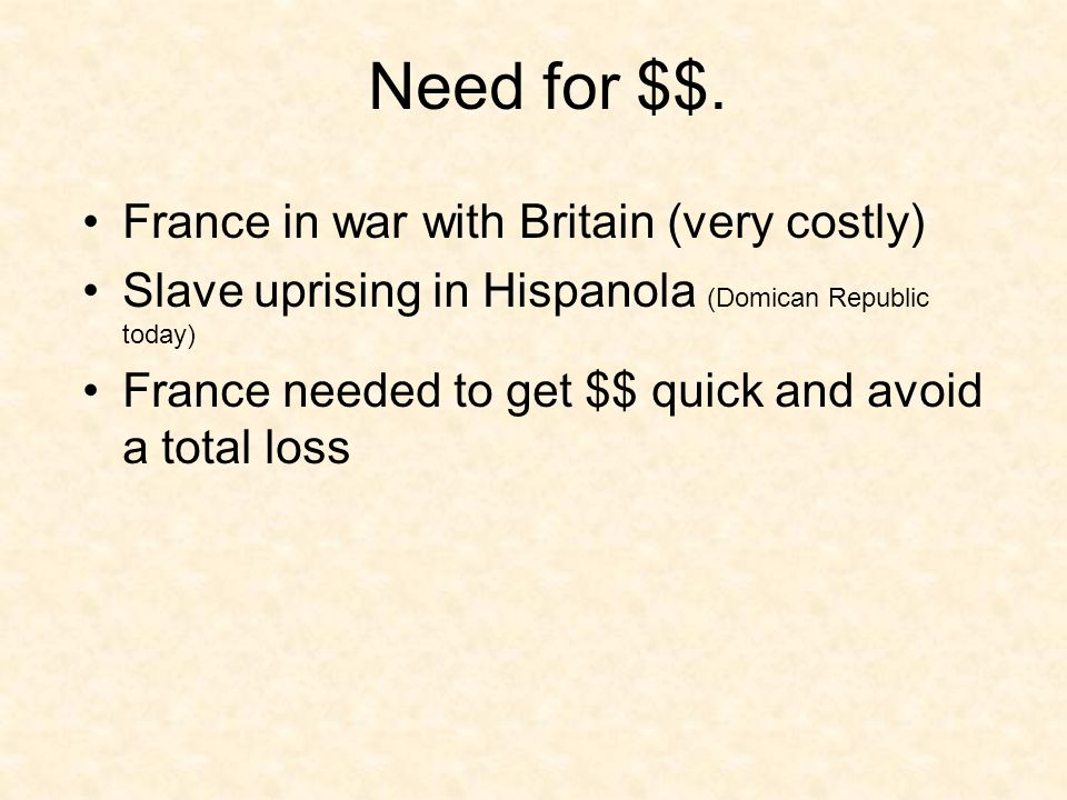 Need for $$.