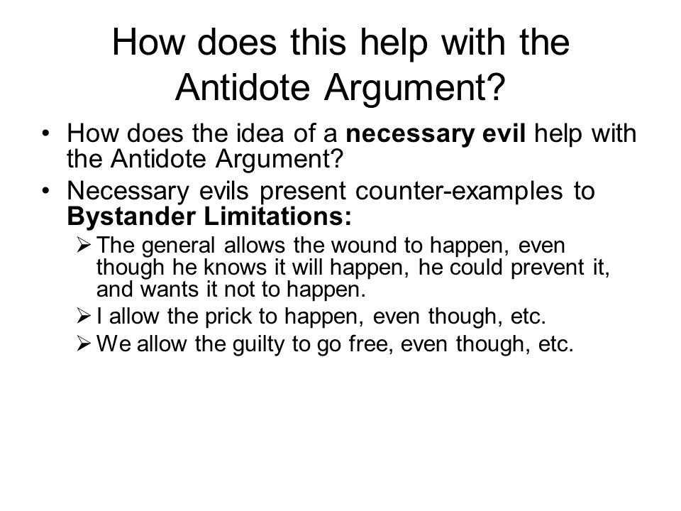 How does this help with the Antidote Argument.