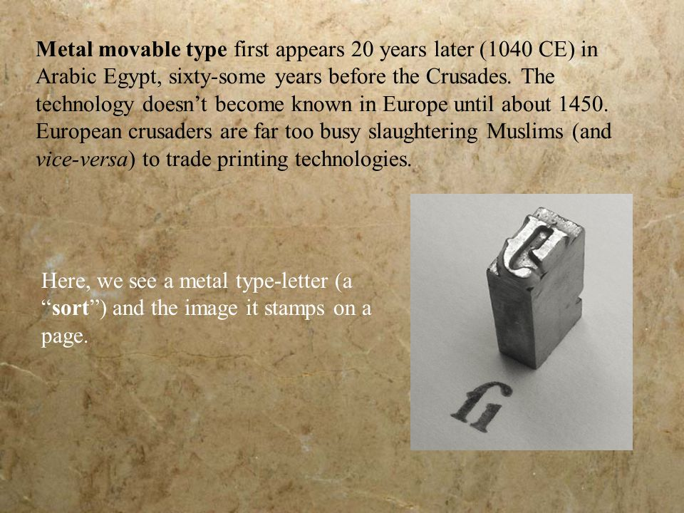 A typesetter would align hundreds of these sorts in rows, lock them in place, and reverse-stamp them to print an entire page at once.