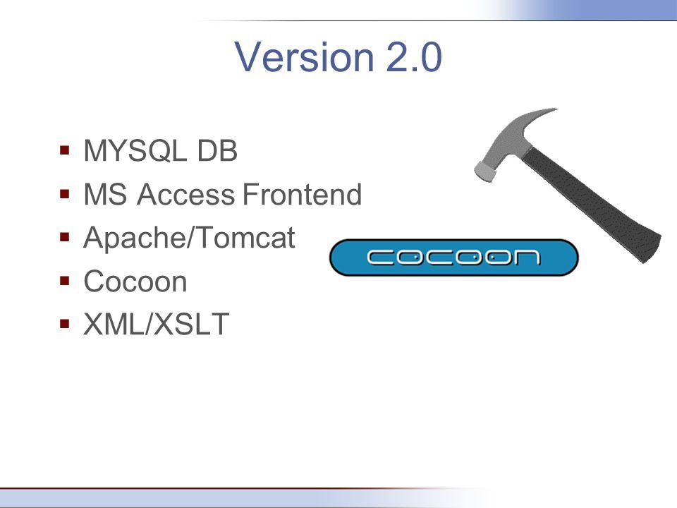 Version 2.0  MYSQL DB  MS Access Frontend  Apache/Tomcat  Cocoon  XML/XSLT
