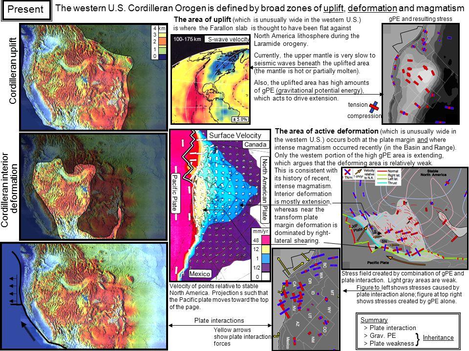 Mexico Canada Pacific Plate North American Plate Surface Velocity 1/2 1 12 0 48 mm/yr 100-175 km S-wave velocity ± 5.0% The western U.S. Cordilleran O