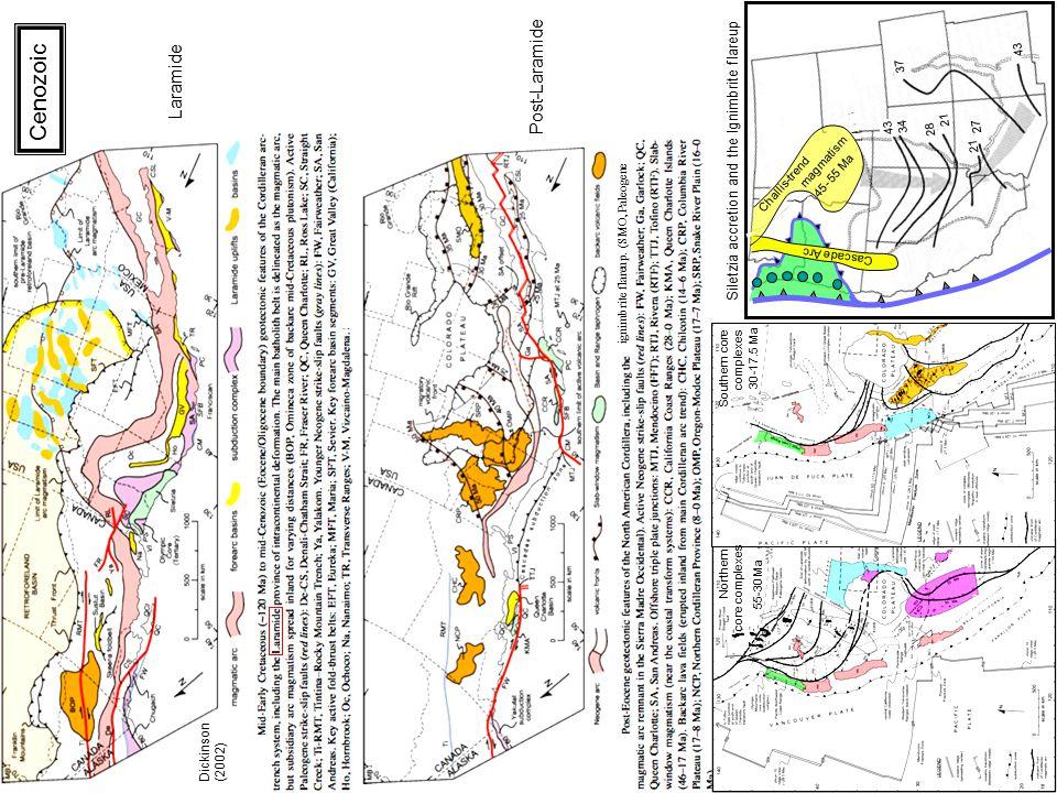Dickinson (2002) ignimbrite flareup. (SMO, Paleogene 55-30 Ma 30 -17.5 Ma Laramide Post-Laramide Northern core complexes Southern core complexes 21 28