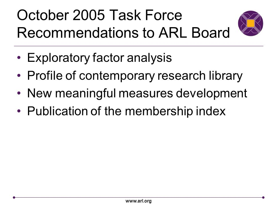 www.arl.org October 2005 Task Force Recommendations to ARL Board Exploratory factor analysis Profile of contemporary research library New meaningful measures development Publication of the membership index