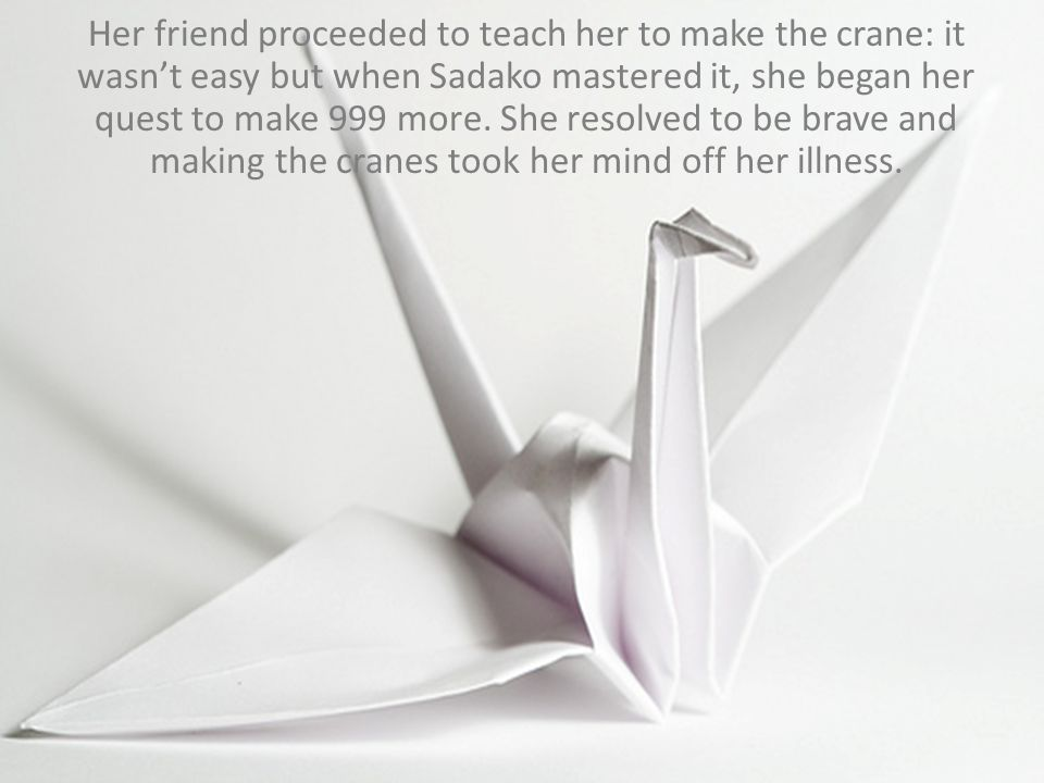 Her friend proceeded to teach her to make the crane: it wasn't easy but when Sadako mastered it, she began her quest to make 999 more. She resolved to