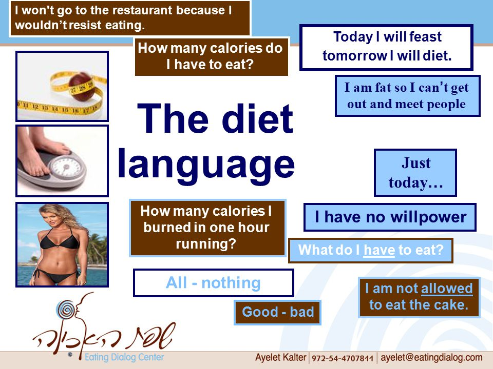 The diet language Good - bad I am fat so I can ' t get out and meet people How many calories do I have to eat.