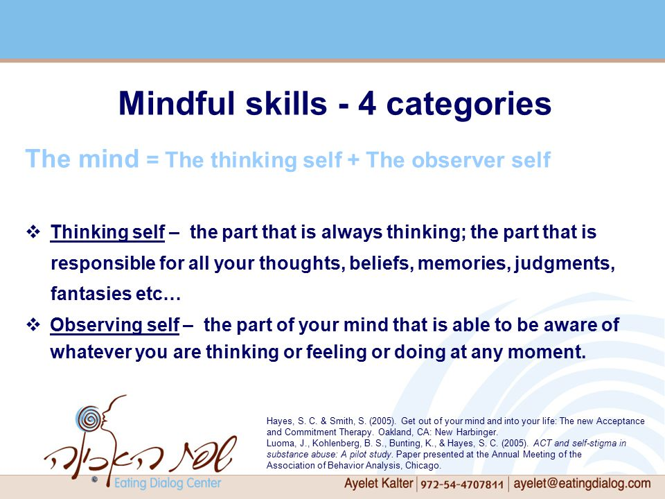 Mindful skills - 4 categories The mind = The thinking self + The observer self  Thinking self – the part that is always thinking; the part that is responsible for all your thoughts, beliefs, memories, judgments, fantasies etc…  Observing self – the part of your mind that is able to be aware of whatever you are thinking or feeling or doing at any moment.
