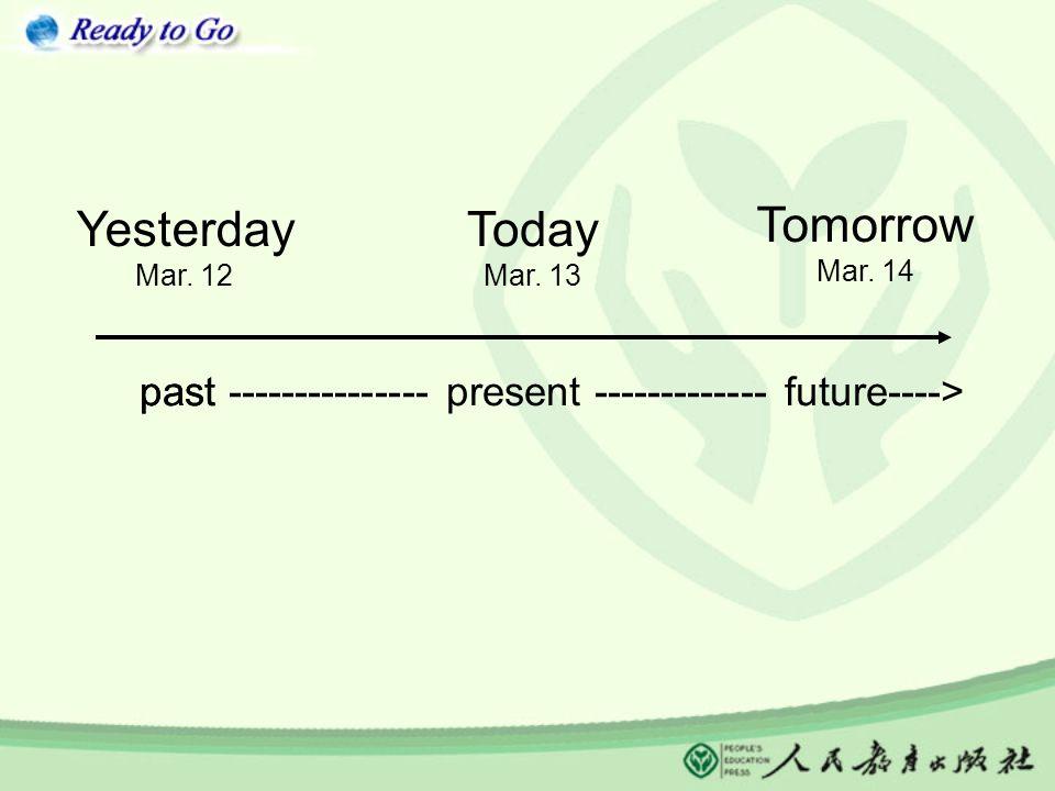 Today Mar. 13 Yesterday Mar. 12 Tomorrow Mar.