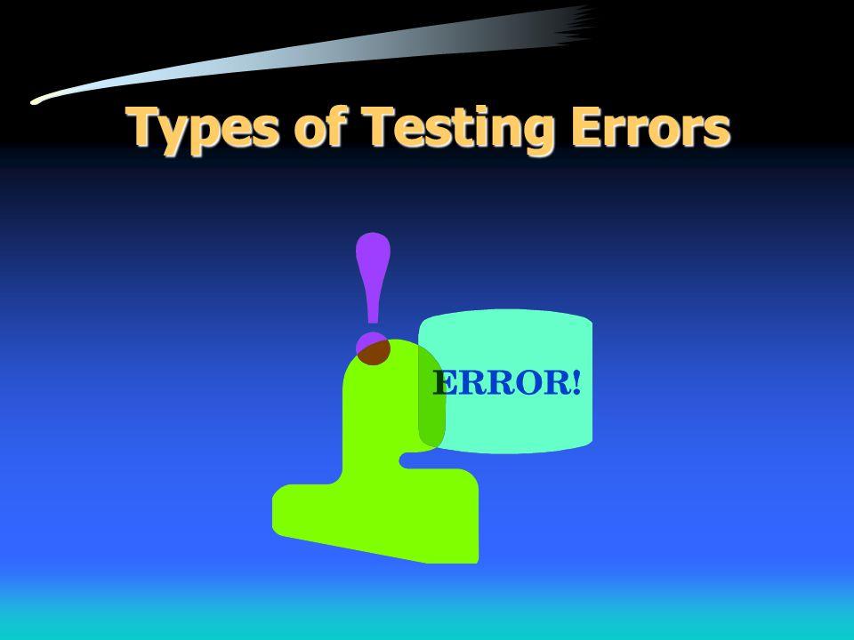 Types of Testing Errors