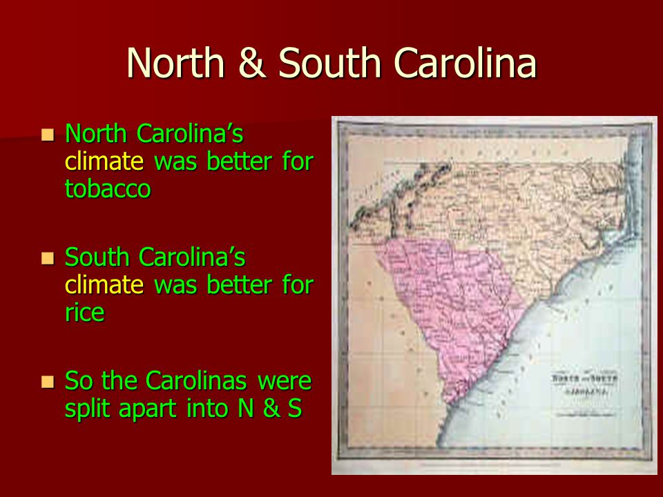 North & South Carolina North Carolina's climate was better for tobacco North Carolina's climate was better for tobacco South Carolina's climate was better for rice South Carolina's climate was better for rice So the Carolinas were split apart into N & S So the Carolinas were split apart into N & S